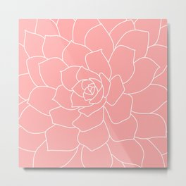 Coral & White Abstract Flower - Mix & Match With Simplicity of Life Metal Print