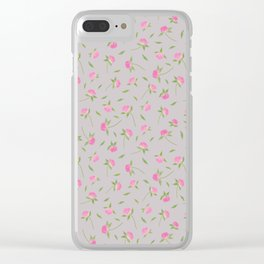Clover Flowers-Gray Clear iPhone Case