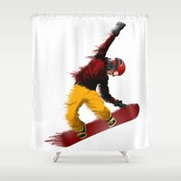snowboarding Shower Curtains featuring Snowboarding by Boehm Graphics
