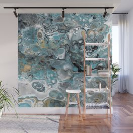 Turquoise White Gold Faux Marble Granite Wall Mural
