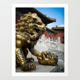 Mother Lion at the Forbidden City. Art Print