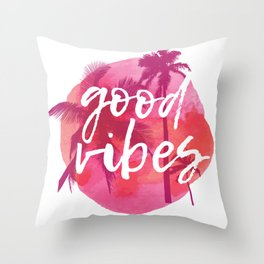 Good Vibes Palm Trees Watercolor Throw Pillow