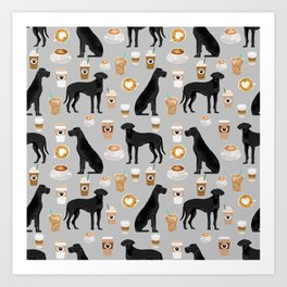 Great Dane coffee black coat color custom pet portrait dog art by pet friendly Art Print