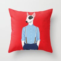 bull terrier Throw Pillows featuring Skinhead Bull Terrier by Studio Drawgood