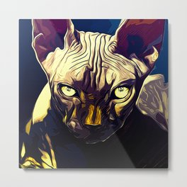 sphynx cat from hell vafn Metal Print