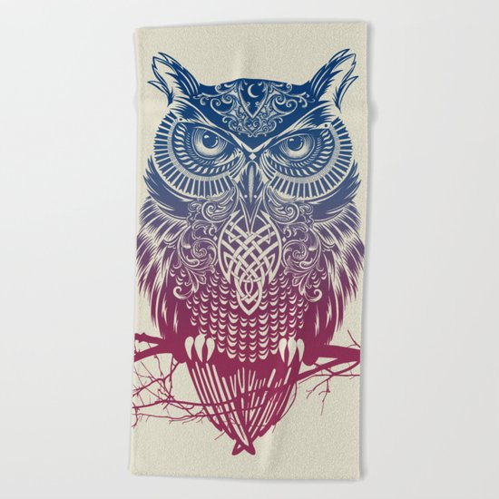 Evening Warrior Owl Beach Towel