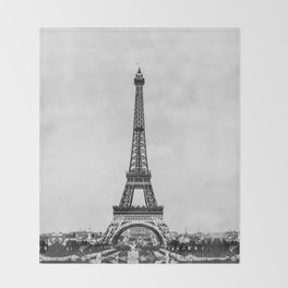 Eiffel tower, Paris France in black and white with painterly effect Throw Blanket
