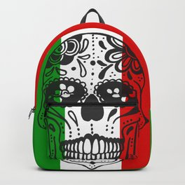 Mexican Skull With Italian Flag Backpack