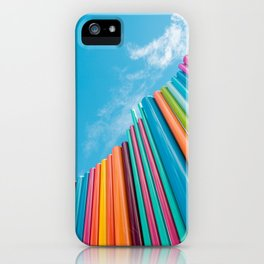 Colorful Rainbow Pipes Against Blue Sky iPhone Case