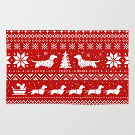 Love Joy Peace Wiener Dogs Rug