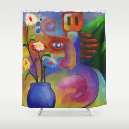 Musician and Flowers Shower Curtain