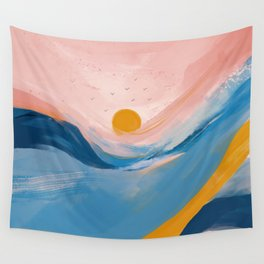 Pink and Blue Abstract Art Ocean and Sunrise Wall Tapestry