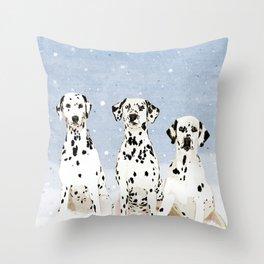 Dalmatians in the Snow Throw Pillow
