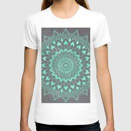 Boho turquoise watercolor floral mandala on grey cement concrete T-shirt
