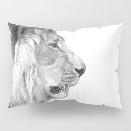 Black and White Lion Profile Pillow Sham