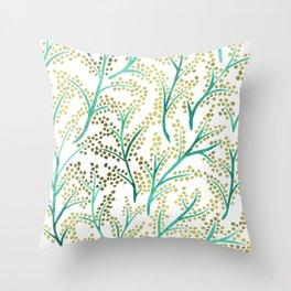 Green & Gold Branches Throw Pillow