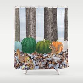 fox squirrels, heirloom pumpkins, & acorns Shower Curtain