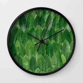 Green Plant Leaves Wall Clock