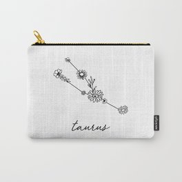 Taurus Floral Zodiac Constellation Carry-All Pouch