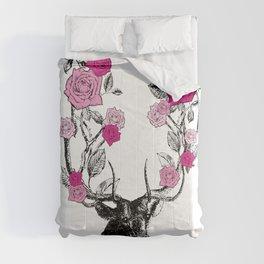 The Stag and Roses | Deer and Flowers | Pink | Vintage Stag | Vintage Deer | Antlers | Woodland | Comforters