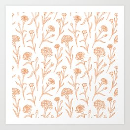 Autumn Carnations White&Gold Art Print