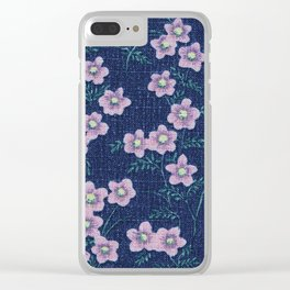 Spaced Flowers Clear iPhone Case