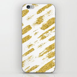 Gold glitter brush print iPhone Skin