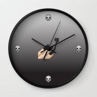 emoji Wall Clocks featuring Emoji Goth by jajoão