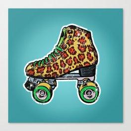 Roller derby vintage leopard roller skates Canvas Print