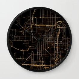 Black and gold Indianapolis map Wall Clock