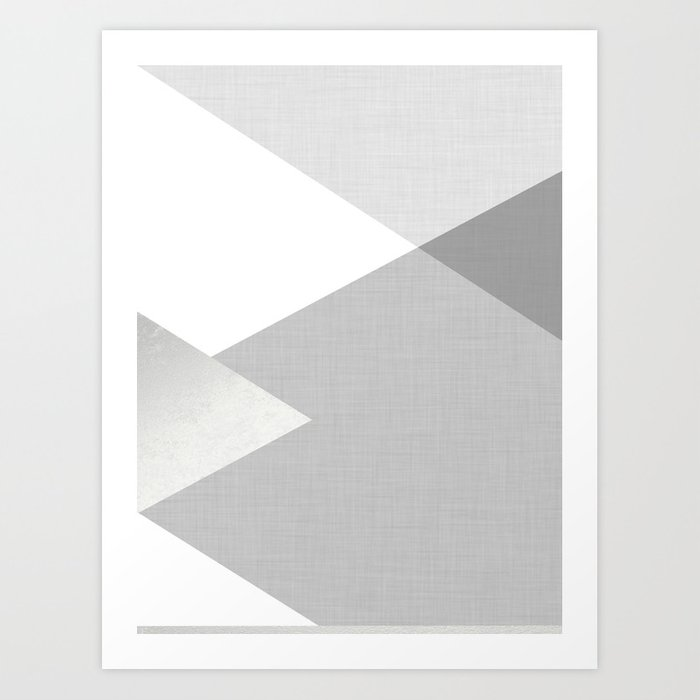 Sunday's Society6 | Geometric pattern on grey silver texture, art print