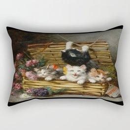 cute kitten 2- Leon Huber - A basket full of cat - pet,whikers,cat,kitty,kitten Rectangular Pillow