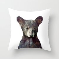 woodland Throw Pillows featuring Little Bear by Amy Hamilton