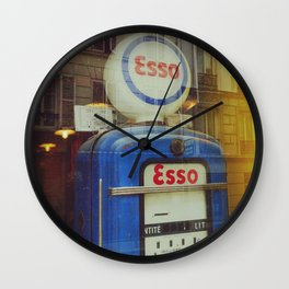Old Blue Fuel Pump and french facades - Fine Art Photography Wall Clock