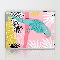 Doin' It - blue india ringneck parrot bird art wacka design animal nature retro throwback neon 1980s Laptop & iPad Skin
