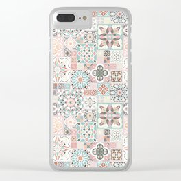 Moroccan Tile Pattern with Rose Gold Clear iPhone Case