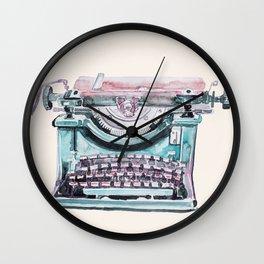 Vintage Typewriter Watercolor III Wall Clock