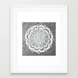 Pastel Floral Medallion on Faded Silver Wood Framed Art Print