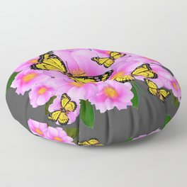 PINK ROSES YELLOW MONARCH  CHARCOAL ART Floor Pillow