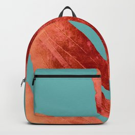 Red Fern on Teal Backpack