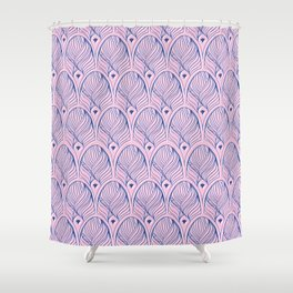 Art-Deco Print - The Gherkin – London, Pink & Blue Shower Curtain