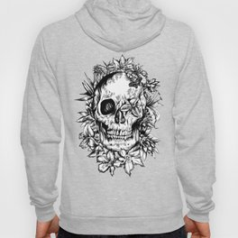 floral skull drawing black and white 2 Hoody