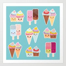 Kawaii cupcakes, ice cream in waffle cones, ice lolly Art Print