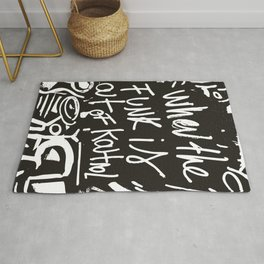 When the funk is out of Kontrol Street Art Black and white graffiti Rug