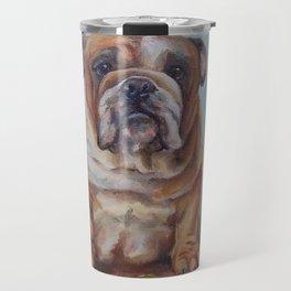 Dogmoney Funny portrait of English Bulldog with cash money Oil painting on canvas Travel Mug