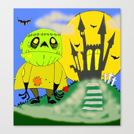 Franken Zombie Night Canvas Print
