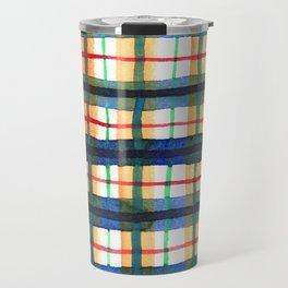 Retro Watercolor Plaid Travel Mug
