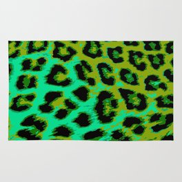 Aqua and Apple Green Leopard Spots Rug