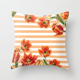 Red Yellow Tulips Stripes Chic Peach Throw Pillow