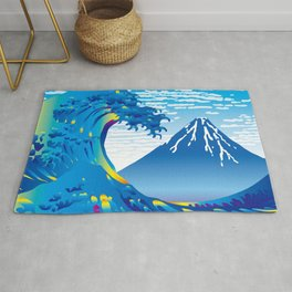Hokusai Great Wave & Mt. Fuji under the Clear Sky Rug